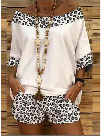Leopard Casual Blouse & Two-Piece Outfits Set