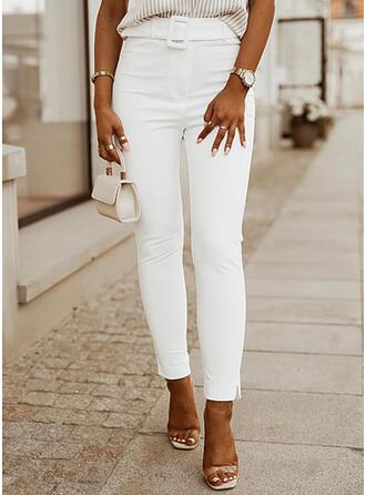 Solid Jean Lang Casual Elegant Plus størrelse Lomme Denim & Jeans