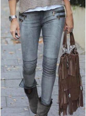 fickor Shirred Extra stor storlek Sexig Mager Denim & Jeans