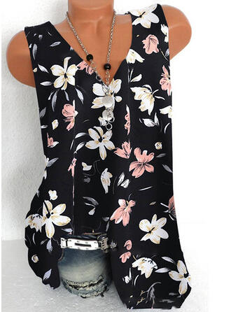 Impresión Floral Encaje Cuello en V Sin mangas Casual Camisetas sin mangas