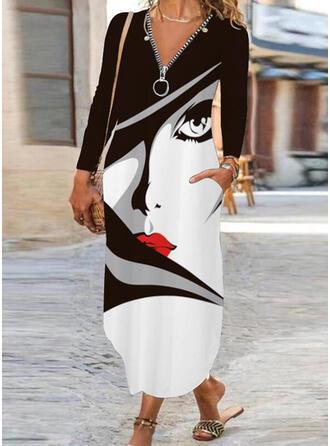 Tisk Dlouhé rukávy Šaty Shift Neformální Maxi Šaty