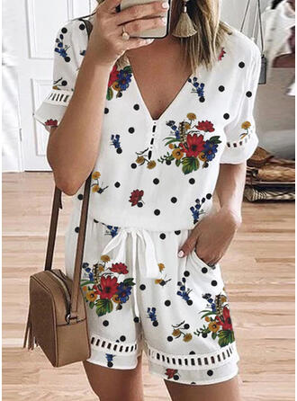Floral Print Polka Dot V-Neck Short Sleeves Casual Romper