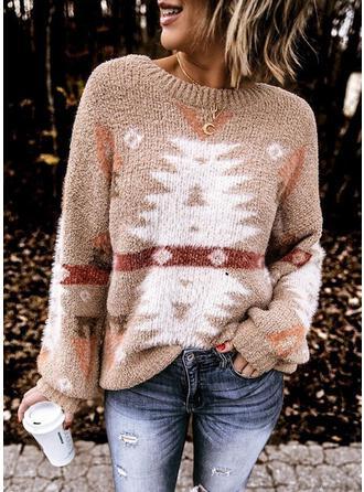 Nadruk Kerek nyak Hétköznapokra Karácsony πουλόβερ