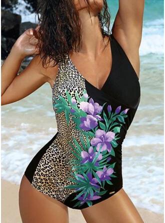 Floral Impresión Empujar Correa Cuello en V Sexy Talla extra Una pieza Trajes de baño