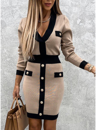 Blok Kolorów Dekolt w kształcie litery V Casual Długie Dopasowany Sukienka sweterkowa