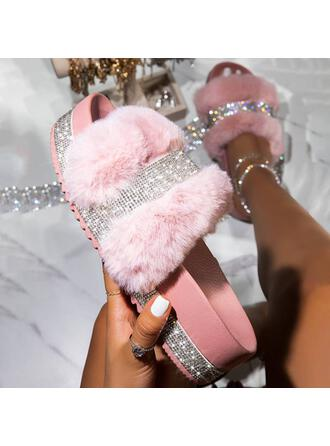 Donna Similpelle Glitter scintillanti Senza tacco Sandalo Piattaforma Punta aperta Ciabatte con Strass Pelliccia scarpe