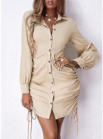 固体 長袖 シースドレス 膝上 エレガント シャツ ドレス