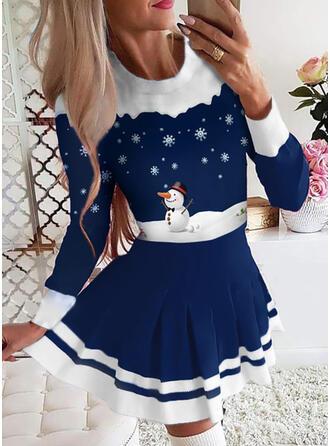Minta/Csíkos Hosszú ujjú A-vonal Térd feletti Karácsony/Elegáns Łyżwiaż φορέματα