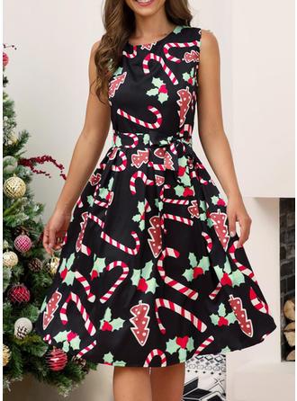 Print Sleeveless A-line Knee Length Christmas/Casual/Elegant Dresses