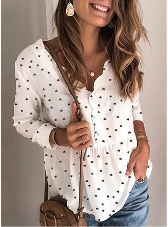 Impresión Cuello en V Manga Larga Con Botones Casual Blusas