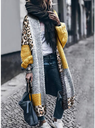 Color Block Leopard Casual Long Cardigan