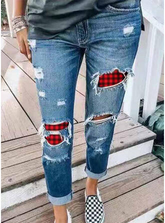 Plaid Plus Size Ripped Christmas Casual Skinny Denim & Jeans