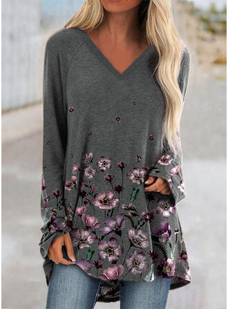 Floral Print V-Neck Long Sleeves T-shirts