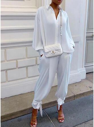 Solid Elegant Fritids Extra stor storlek blus & Tvådelade kläder uppsättning