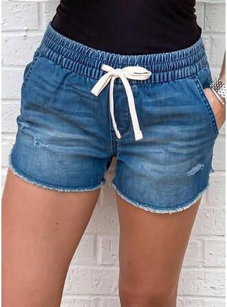 Sólido Casual Clásico Tallas Grande Bolsillo shirred cordraystring Pantalones Pantalones cortos Vaqueros