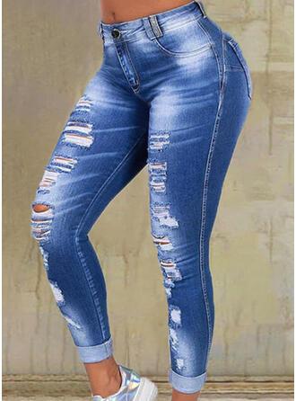 Sólido Juan Largo Casual Tallas Grande Bolsillo rasgados Pantalones Vaqueros
