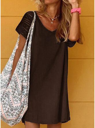 Encaje/Sólido Manga Corta Tendencia Sobre la Rodilla Casual Vestidos
