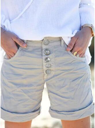 Sólido Por encima de la rodilla Casual Tallas Grande Bolsillo shirred Botones Pantalones Pantalones cortos