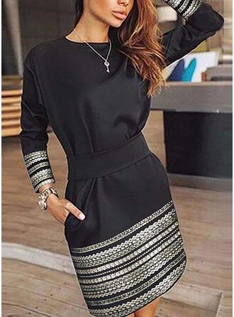 Print Long Sleeves Sheath Above Knee Little Black/Casual Dresses