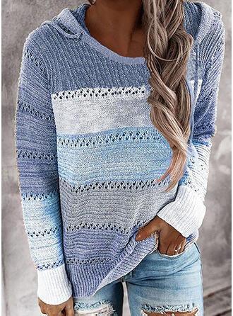 Blok Kolorów Bluza z kapturem Casual Swetry