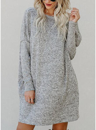 Solid Pocket Round Neck Casual Sweater Dress
