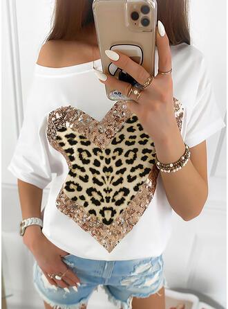 Impresión Lentejuelas Leopardo Un Hombro Manga corta Casual Camisetas