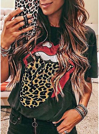 Leopard Tisk Kulatý Výstřih Krátké rukávy Trička