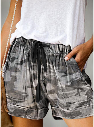 Print Camouflage Mini Casual Shorts