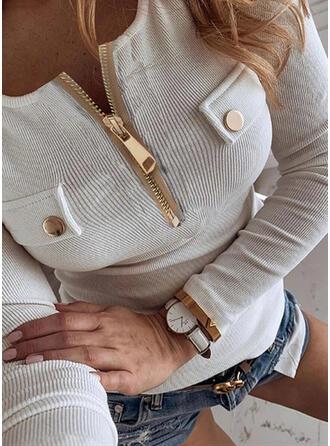 Solide Ronde Hals Lange Mouwen Casual Overhemd