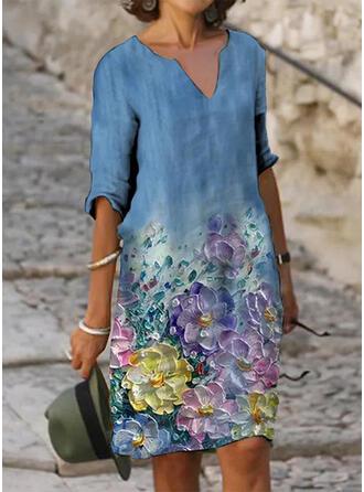 Impresión/Floral Mangas 1/2 Vestidos sueltos Hasta la Rodilla Casual Túnica Vestidos