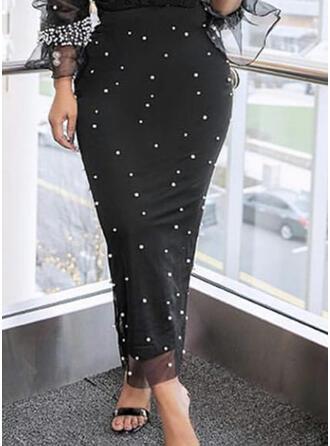 ポリエステル ビーズ ミッドカーフ 鉛筆のスカート