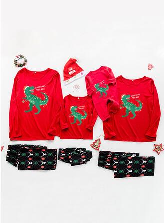 Brev Tecknad Print Matchande familj Jul Pyjamas