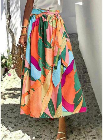 ポリエステル 印刷 ミッドカーフ ラインスカート