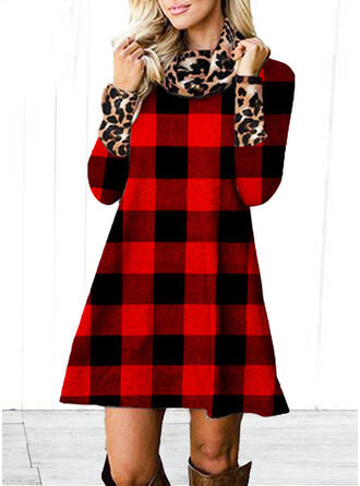 Plaid/Leopard Long Sleeves Shift Above Knee Casual Tunic Dresses
