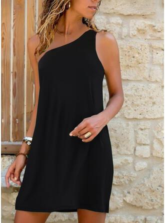 Sólido Sin mangas Vestidos sueltos Sobre la Rodilla Pequeños Negros/Casual/Vacaciones Vestidos