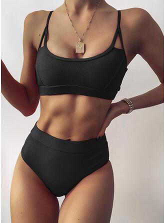 Enfärgad Rem U-ringning Sexig bikini Badkläder
