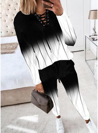 印刷 カジュアル プラスサイズ Blouse & ツーピースの服 Set ()