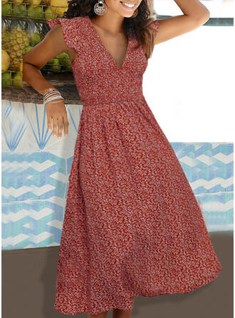 Print/Floral Cap Sleeve A-line Casual/Vacation Midi Dresses
