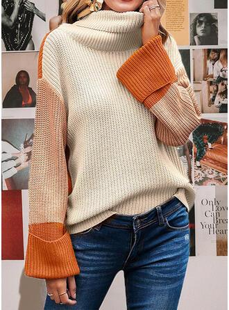 カラーブロック ハイネック カジュアル セーター