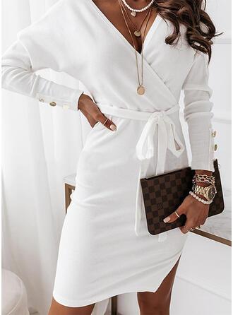 固体 長袖 シースドレス 膝上 カジュアル ジャケット/ラップ ドレス