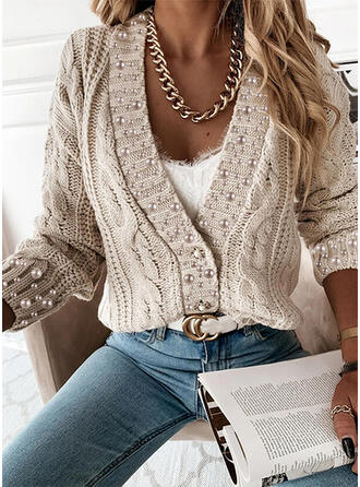 Solido Cavo Knit In rilievo Scollatura a V Casual Cardigan