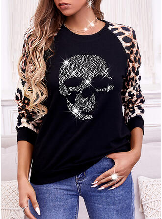 Print Leopard Skull head Round Neck Long Sleeves Sweatshirt