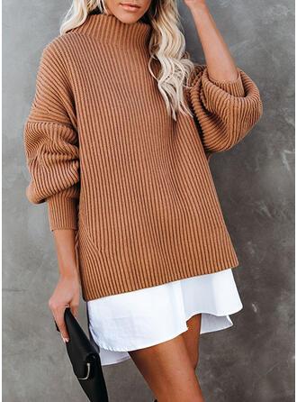 Blok Kolorów Golf Casual Długie Sukienka sweterkowa