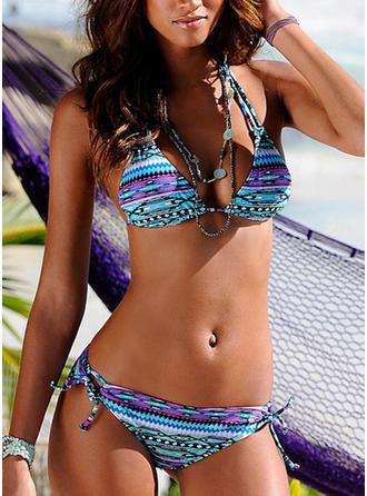 Estampado tropical Sin Mangas Sexy Bikinis Trajes de baño
