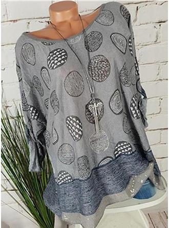 Print Round Neck Long Sleeves Casual Elegant T-shirts