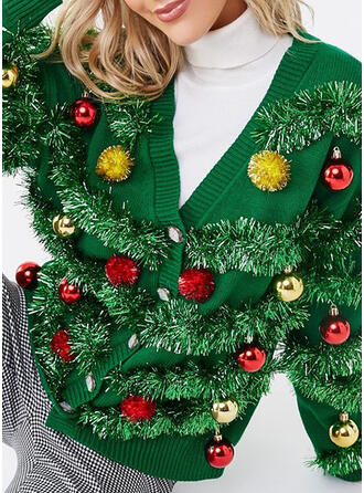 Kvinnor polyester Solid färg Ugly Christmas Sweater
