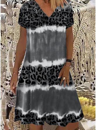 Leopardo Manga Corta Vestidos sueltos Hasta la Rodilla Casual Vestidos