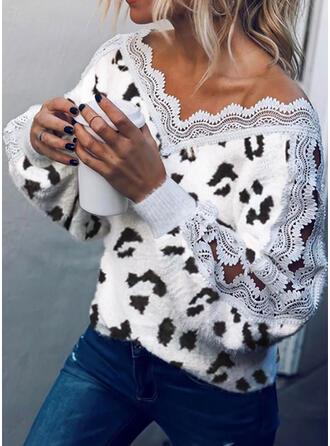 Koronka lampart Dekolt w kształcie litery V Casual Swetry