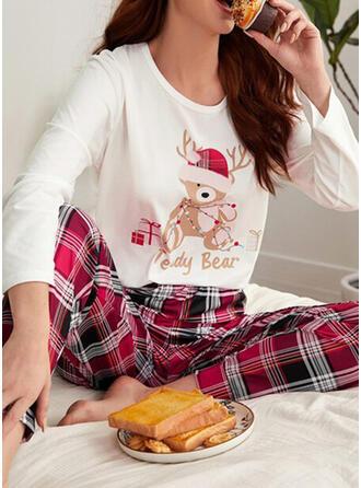 Combinação de algodão Manga Comprida Xadrez Natal Conjunto de pijama