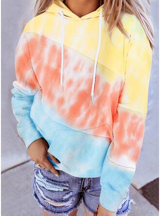 Color Block Tie Dye Long Sleeves Hoodie